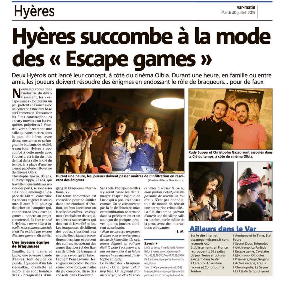 article de presse du journal var matin sur l'escape game à Hyères